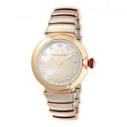 BVLGARI 36mm LVCEA 18-karat Pink Gold Womens Watch with Diamonds