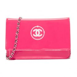Chanel Patent Leather Pink Preowned Shoulder Bag