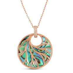 Frederic Sage Medium Round Abalone & Diamond Necklace in 18K Pink Gold