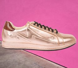 Paul Smith Women's Embossed Metallic Copper Leather 'Lapin' Trainer Shoes
