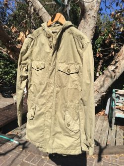 John Varvatos Military Style Field Coat Green Vintage Mens Jacket