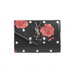 SAINT LAURENT Rose & Polka Dot Small Leather French Wallet