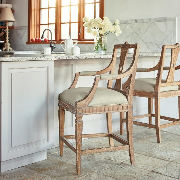 Cheshire Carved Counter Height Bar Stool (24″H seat) in Antique Oak Finish