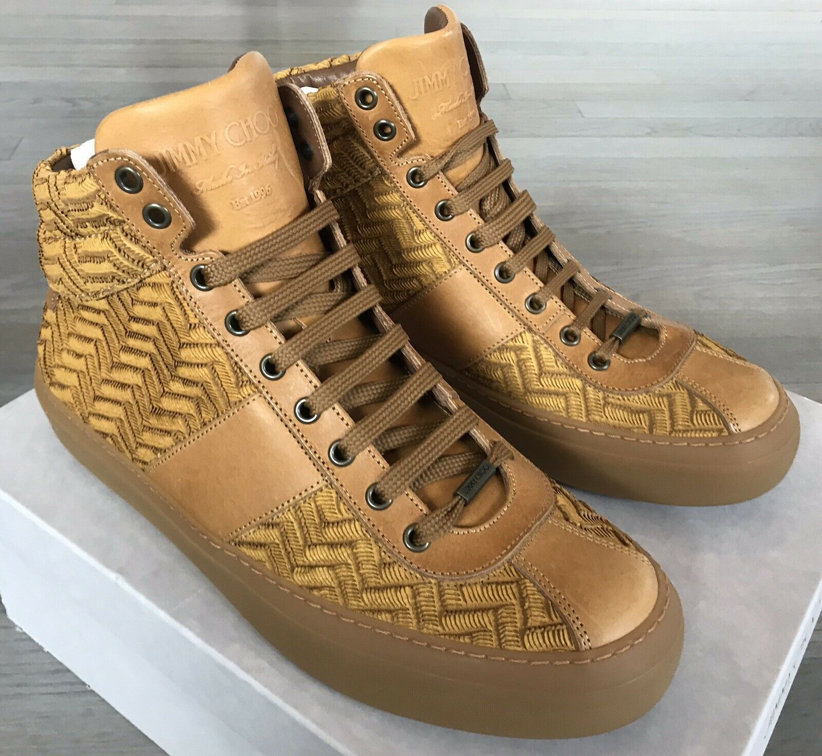 Jimmy Choo Belgravi Saddle Mens High Tops Sneakers size US 11, Made in Italy – New