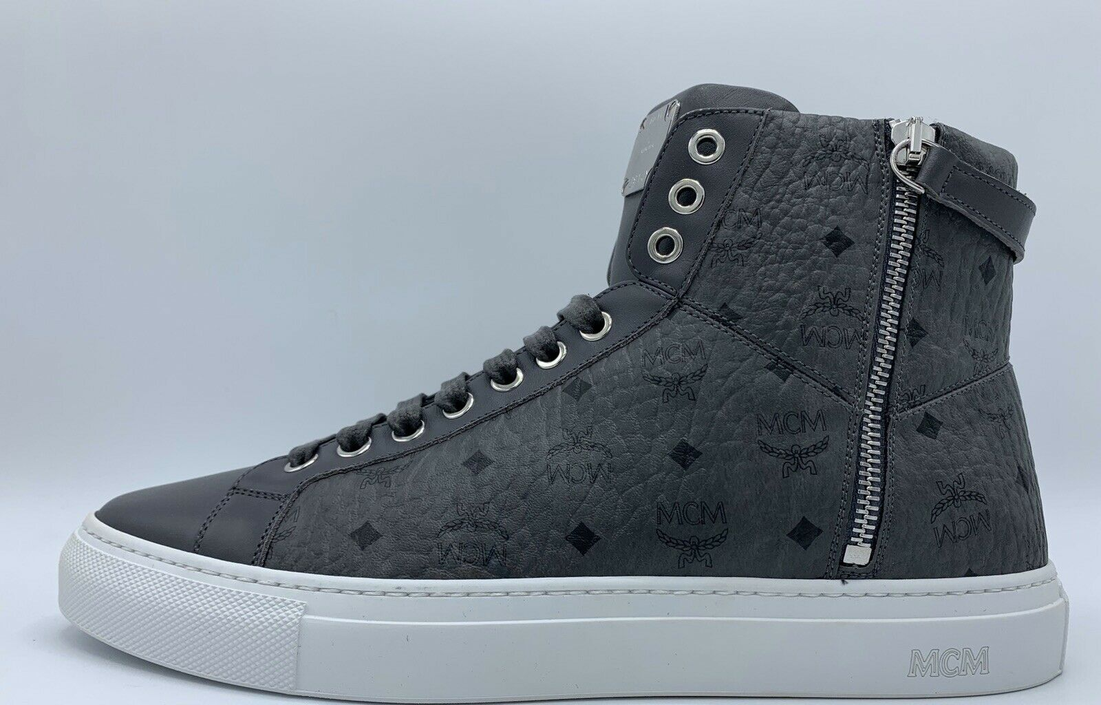 MCM Light Dark Gray High Tops Leather Sneakers size US 10 Made in Italy   MALIBU THRIFT STORE
