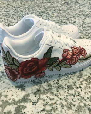 Nike Air Force 1 Size 11 Custom White Red Rose Af1 Free Shipping